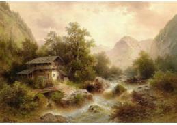 Slavné obrazy XIII- 465 Albert Rieger - Mlýn v horách