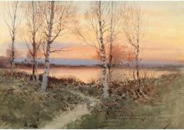 Slavné obrazy XVI-101 Alexej Prokofjef - Krajina při západu slunce