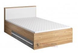 FLAMY 10, postel 120x200cm 2S, dub nash / šedá / bílá