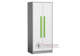 GYT 01, šatní skříň, antracit / bílá / zelená