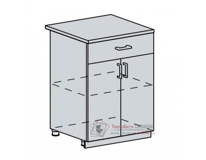 PRAGA, dolní skříňka 2-dveřová se zásuvkou 60D1S, bílá / wenge