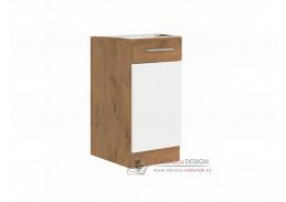 Dolní kuchyňská skříňka VEGA D40 1F BB dub lancelot / bílá extra vysoký lesk HG