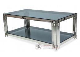 FOSSIL A, konferenční stolek 120x60x40cm, chrom / kouřové sklo