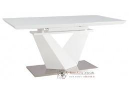 ALARAS III 160, jídelní stůl rozkládací, leštěná ocel / bílá / bílé sklo