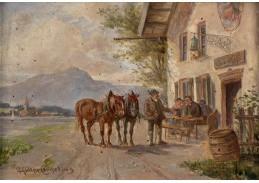 Slavné obrazy VIII-158 Ludwig Müller-Cornelius - Zastavení u hostince
