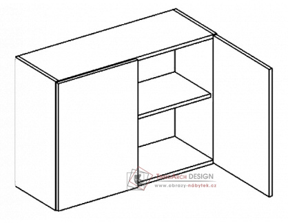 MORENO, horní skříňka 2-dvéřová W80/58, bílá / dub sonoma