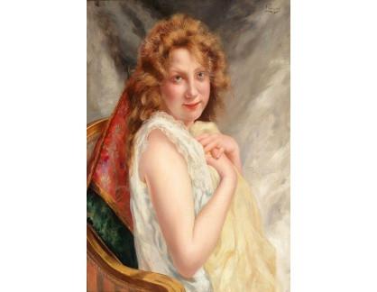 Krásné obrazy II-335 Louis Perrey - Portrét mladé ženy