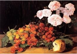 VFGW 103 Ferdinand Georg Waldmüller - Zátiší s růžemi, jahodami a chlebem