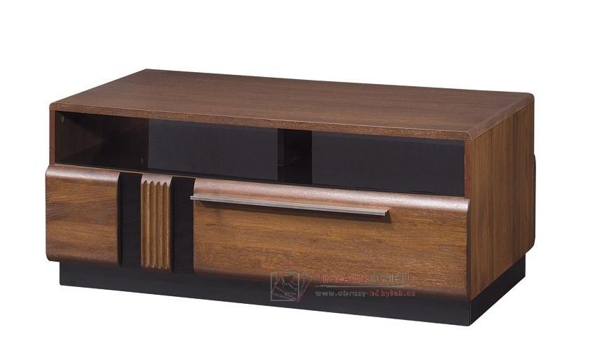Konferenční stolek PORTI P-41 antický dub / černé sklo