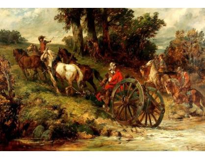 Slavné obrazy III-DDSO-520 Charles Cattermole - Vojáci při přechodu řeky