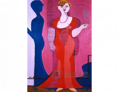VELK 30 Ernst Ludwig Kirchner - Světlovlasá žena v červených šatech