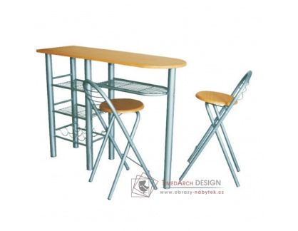 BOXER, barový pult se židlemi, aluminium / buk