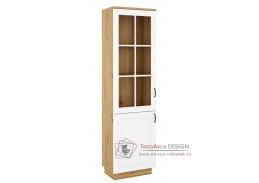 FEDERICO, vitrína 2-dveřová 2D, dub artisan / bílá