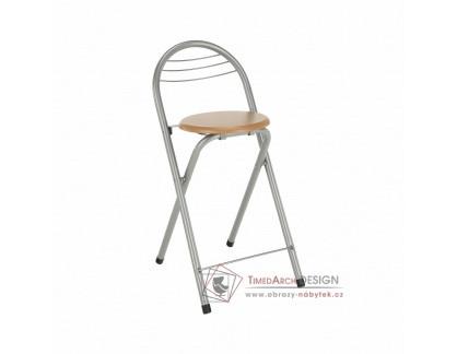 Barová židle BOXER aluminium / buk