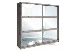 TOGOS, šatní skříň s posuvnými dveřmi 230cm, dub welington / zrcadla