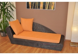 Ratanová odpočinková pohovka hnědá pravá polstr oranžový