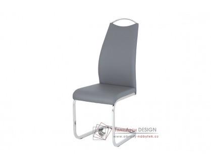 HC-981 GREY, jídelní židle, chrom / ekokůže šedá