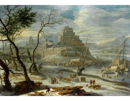 Slavné obrazy X DDSO-1276 Orazio Grevenbroeck - Zimní krajina