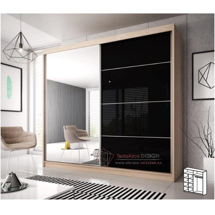 Skříň s posuvnými dveřmi 183cm MULTI 31 dub sonoma / černý lesk