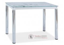 Jídelní stůl 100x60 cm DAMAR II chrom / bílé sklo
