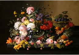 Slavné obrazy XIV-105 Severin Roesen - Zátiší s květinami a ovocem