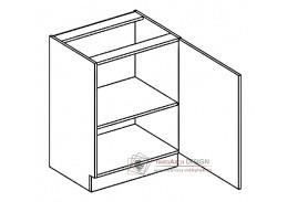 PAULA, D60 dolní skříňka - pravá,  šedá / mocca