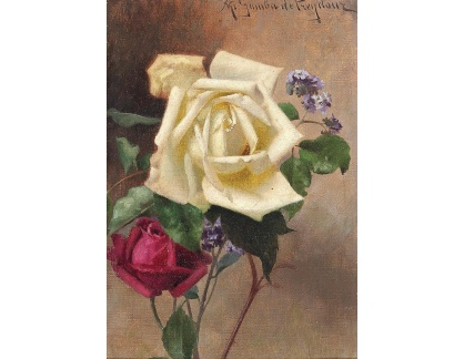 Slavné obrazy I-DDSO-17 Alexandre Gamba de Preydour - Lilie a růže
