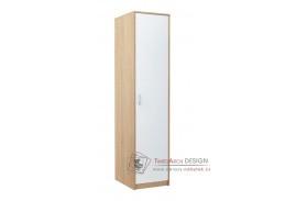 VIKA, šatní skříň 1D 45cm, dub sonoma / bílá
