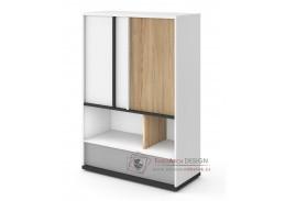 VENIDI 05, komoda 2-dveřová se zásuvkou, bílá / světle šedá / grafit / salisbury