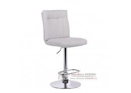 ANGUS, barová židle, stříbrná / látka béžová