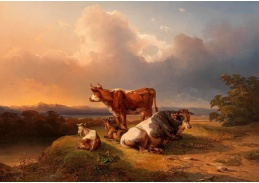 D-9330 Edmund Mahlknecht - Večerní nálada s pasoucím se dobytkem