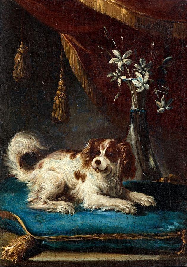 Slavné obrazy XVII-71 Francesco Fieravino - Portrét psa