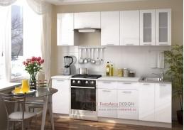 VALERIA, kuchyně 240cm, bílá / bílý metalic