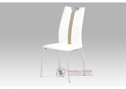 AC-1296 WT, jídelní židle, chrom / ekokůže bílá