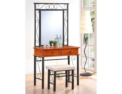 CEBU, toaletní stolek se zrcadlem a taburetem, černá / antická třešeň