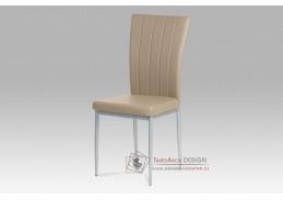 AC-1287 CAP, jídelní židle, šedý lak / koženka cappuccino