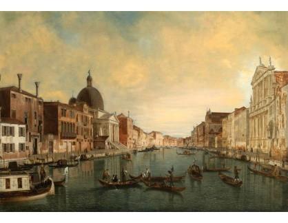 Slavné obrazy XVI-345 Canaletto - Pohled na Canal Grande s kostelem San Simeone Piccolo v Benátkách