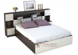 BASIA KP-552, postel se záhlavím 160x200cm, wenge / dub belfort
