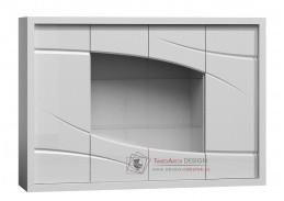 Komoda s vitrínou PARIS P11 bílá / bílý lesk