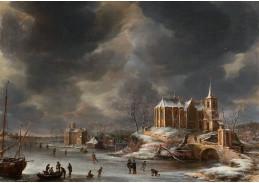 Slavné obrazy III-DDSO-466 Anthonie Beerstraten - Zimní krajina s bruslaři