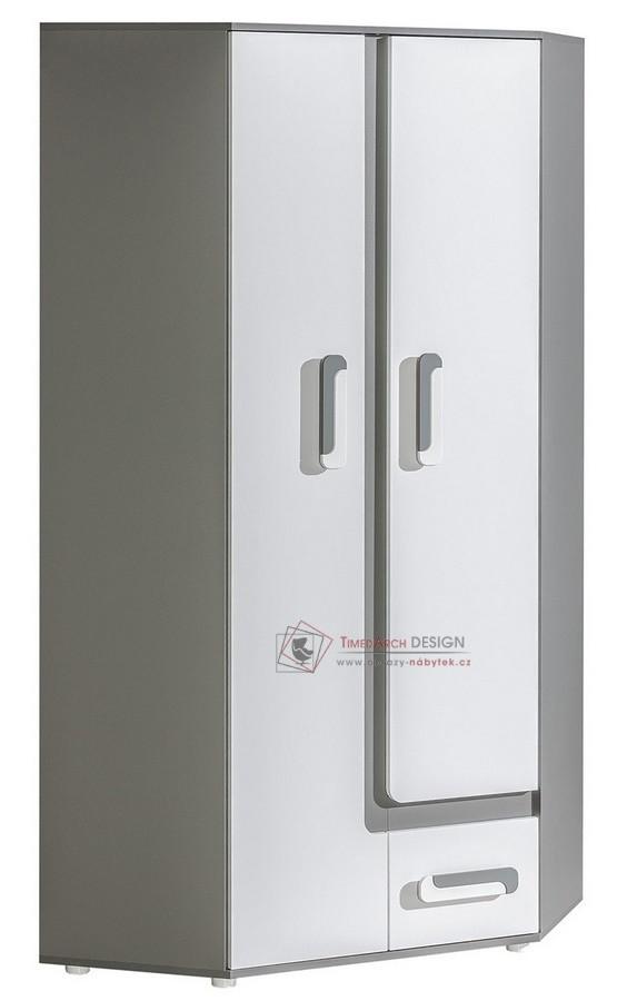 Rohová skříň APETTITA 2 antracit / bílá
