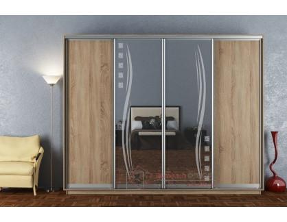 STELLA 300, šatní skříň s posuvnými dveřmi 300cm, dub sonoma