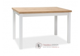 ADAM 120, jídelní stůl, dub lancelot / bílá mat