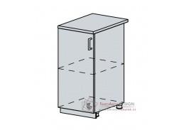 VERONA, dolní skříňka 1-dveřová 40D, bílá / jasan šimo