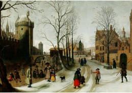 Slavné obrazy X DDSO-1026 Sebastian Vrancx - Zimní krajina s bruslaři za hradbami města