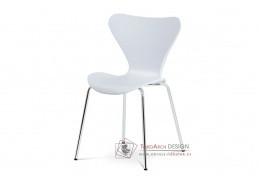AURORA WT, jídelní židle, chrom / bílý plast s dekorem dřeva