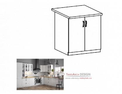 PROVANCE, dolní skříňka 2-dveřová D60, bílá / borovice andersen