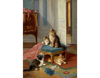 Krásné obrazy II-374 Léon Huber - Kočičí rodina