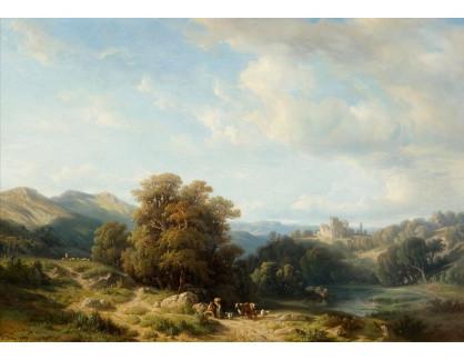Slavné obrazy III-DDSO-592 Francois Diday - Krajina se zříceninou a postavami