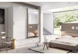 ARTI 05, šatní skříň s posuvnými dveřmi 200cm, bílá / zrcadla